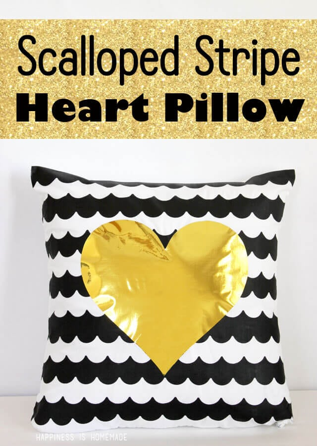 Scalloped Stripe Heart Pillow with Frog Tape Shape Tape