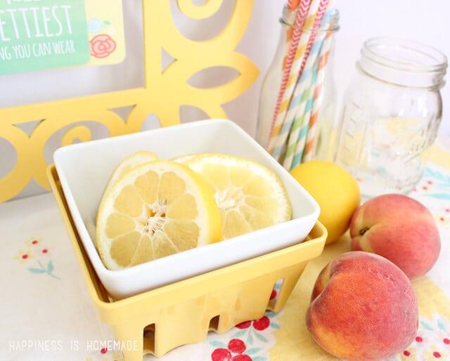 Sliced Lemons and Peaches for Iced Tea