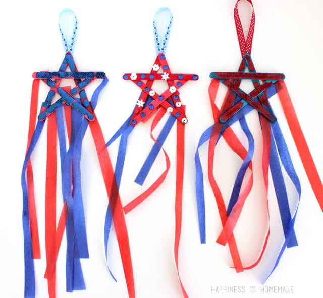 4th of july kids craft popsicle stick star streamers