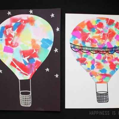 Hot Air Balloon Watercolor Art