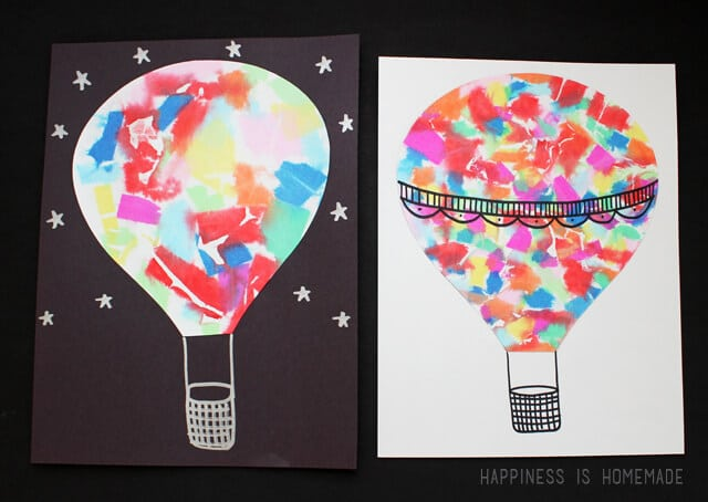 Watercolor Style Hot Air Balloon Art with Bleeding Tissue Paper