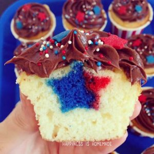 4th of July Star Surprise Inside Cupcakes