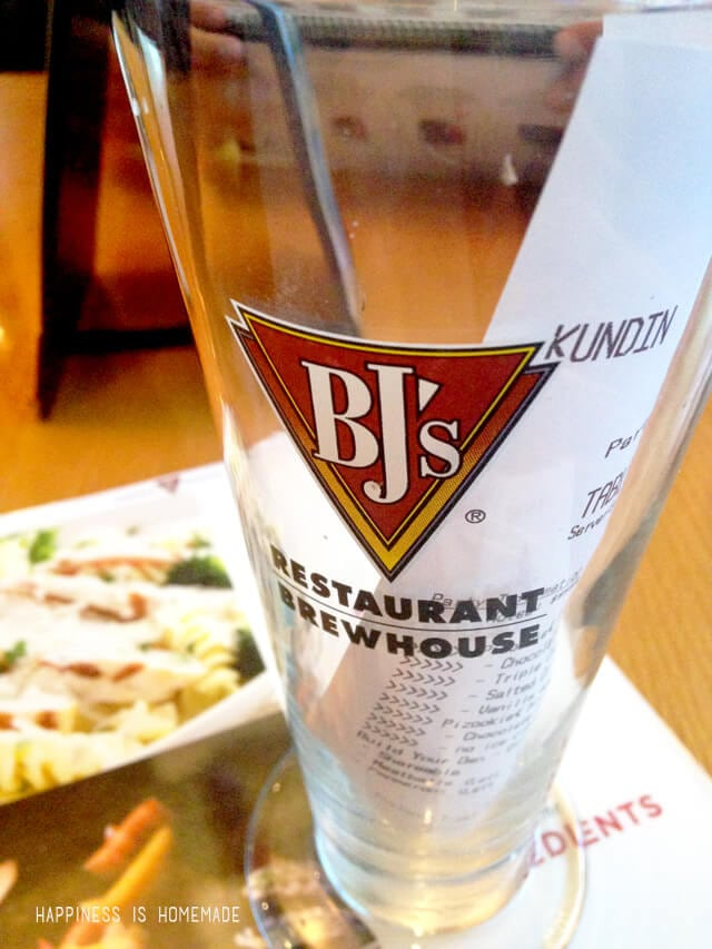 BJ's Restaurants Order Ahead Dine In Receipt