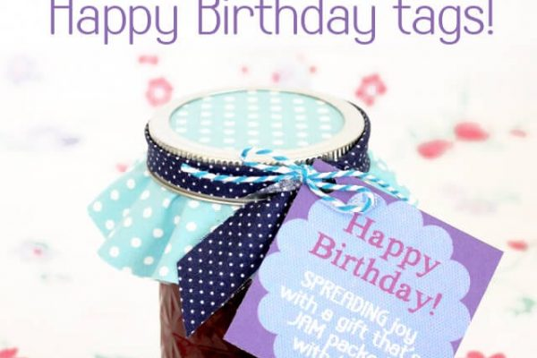 Blueberry Apricot Jam with Free Printable Happy Birthday Tag Label
