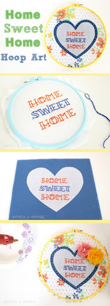 Embroidered Home Sweet Home Heart Hoop Art