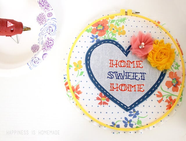 Home Sweet Home Hoop Art with Flowers