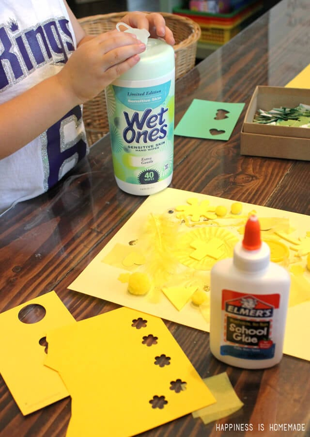 Making Preschool Color Collage Art with Elmers and Wet Ones