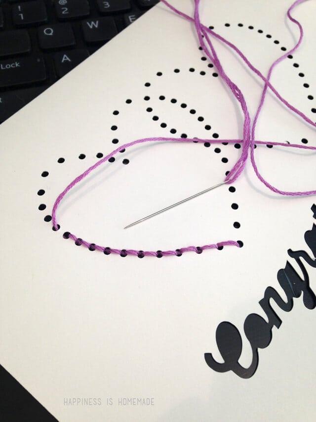 Stitching a Rhinestone Silhouette Pattern Card