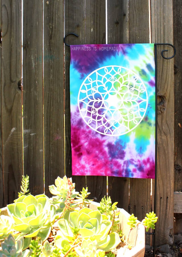 Tie Dyed Garden Flag from an Upcycled Old T-Shirt