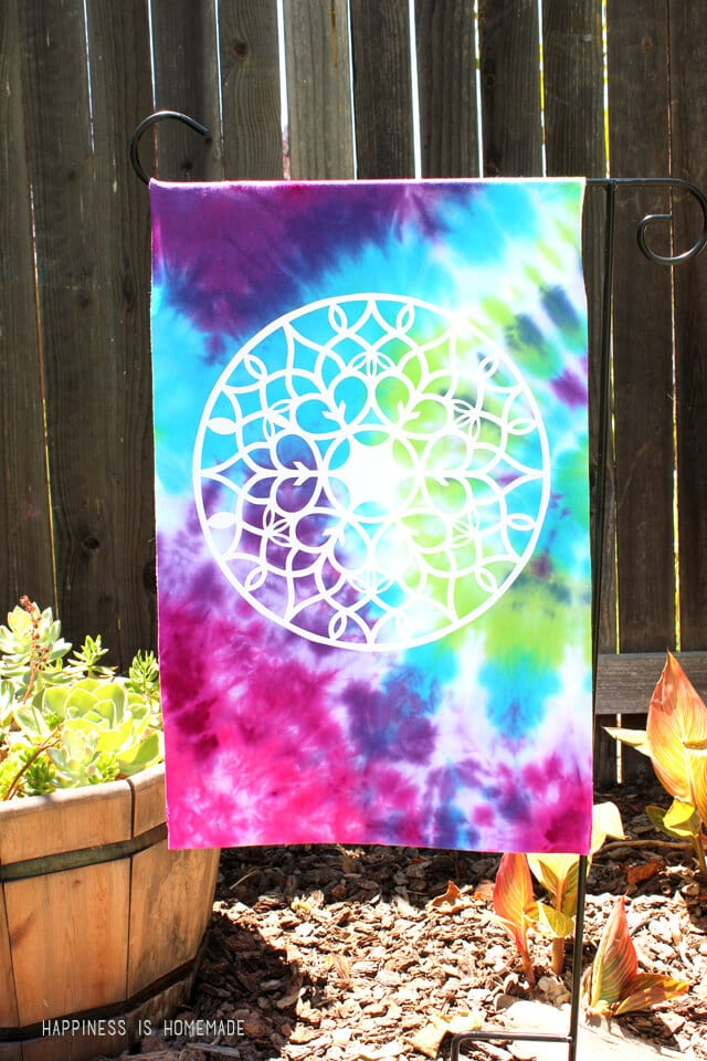Upcycled Tie Dyed T Shirt Garden Flag