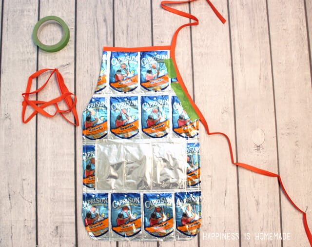 Adding Ties to a Capri Sun Apron