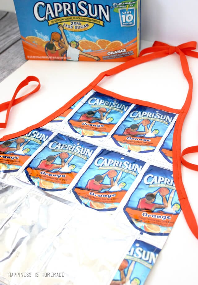 Apron made with recycled Capri Sun juice pouches
