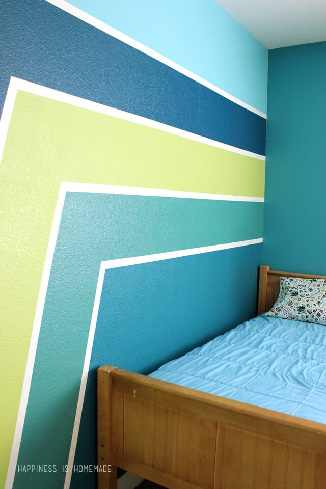 Boys Bedroom Graphic Racing Stripes Painted Accent Wall
