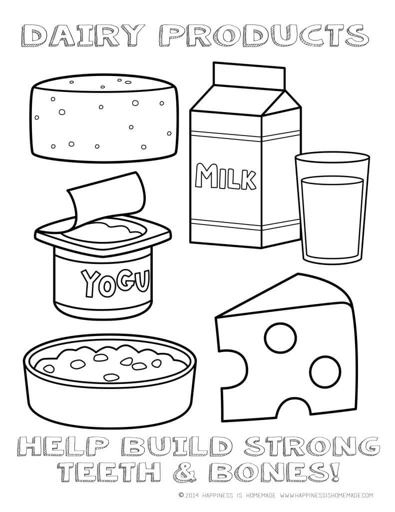 Printable Healthy Eating Chart & Coloring Pages ...