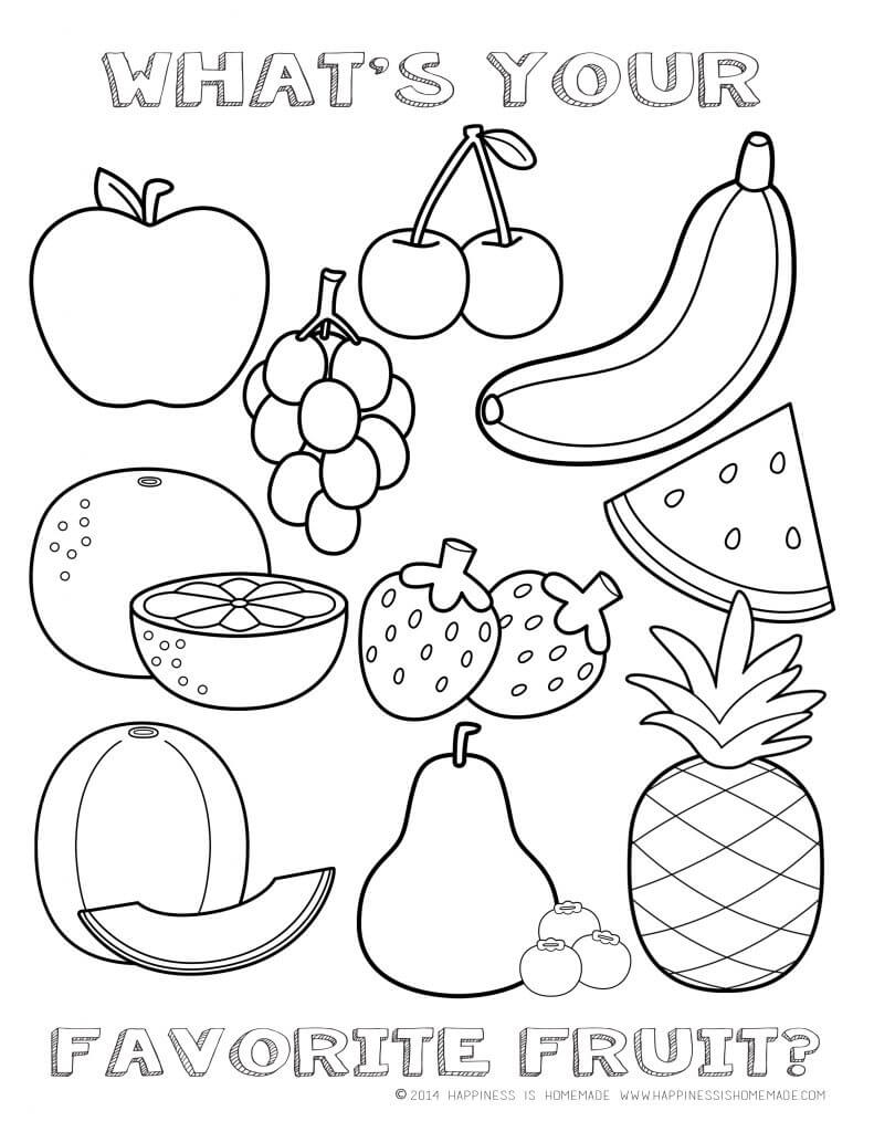 Printable healthy eating chart coloring pages for Printable fruit coloring pages