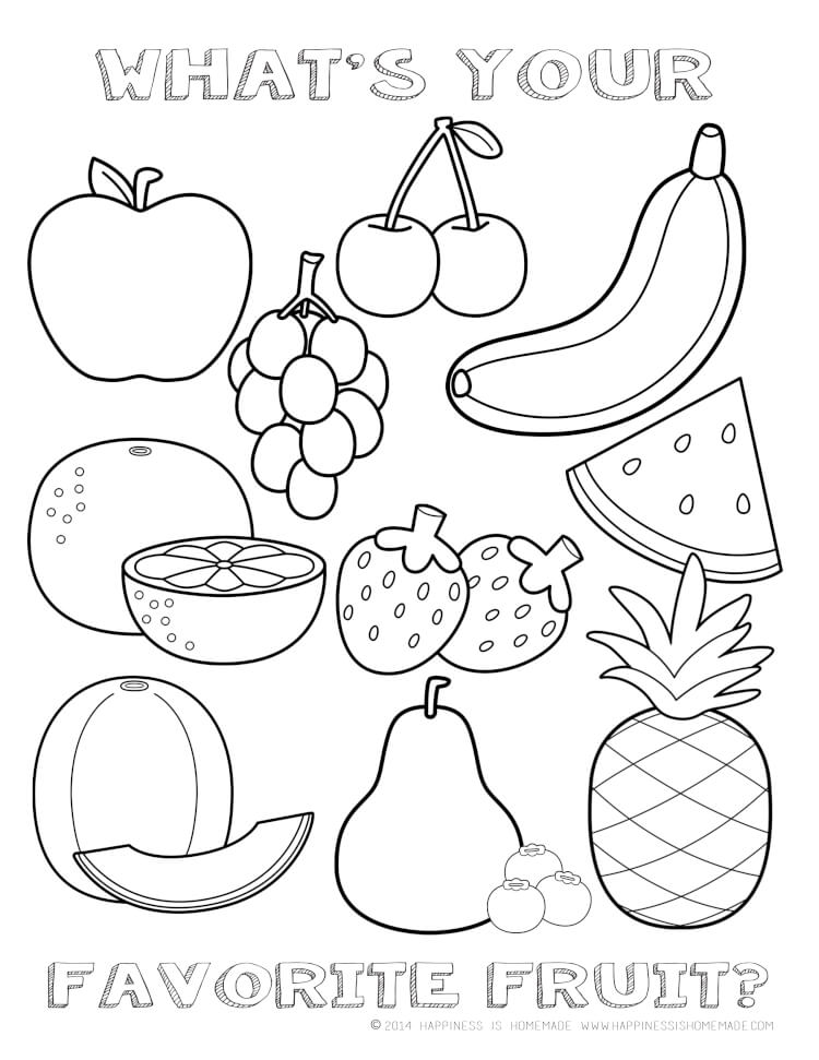 coloring pages of fruits - printable healthy eating chart coloring pages