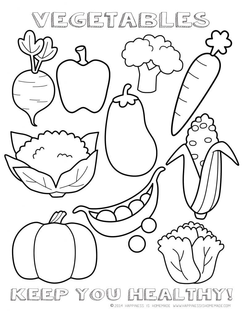 coloring pages vegetables - printable healthy eating chart coloring pages