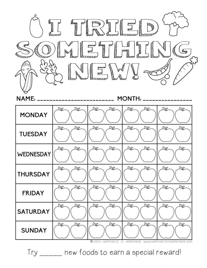Worksheets Eating Healthy Worksheets printable healthy eating chart coloring pages happiness is homemade i tried something new reward chart