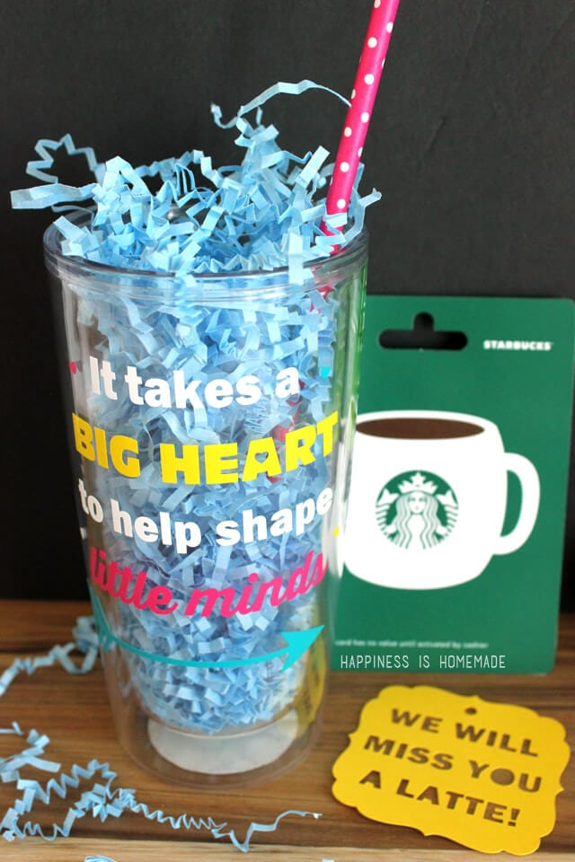 "Quick Teacher Gift Idea: Quote Cup & ""We'll Miss You a ..."