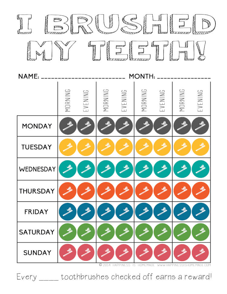 Clever image inside printable tooth chart