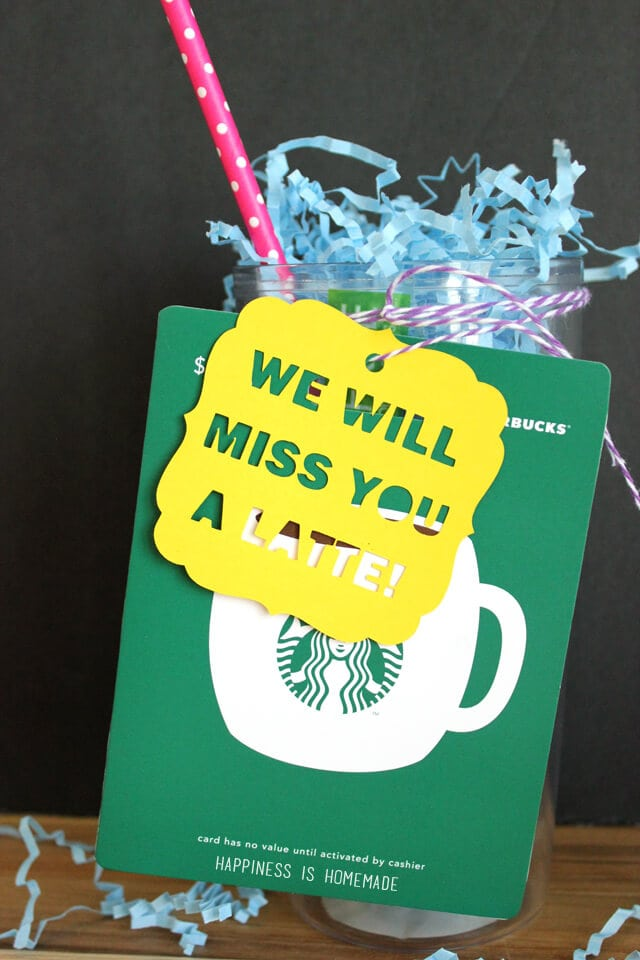 We Will Miss You a Latte cute gift tag idea