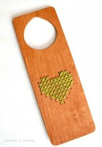 Cross Stitched Heart Wood Door Hanger