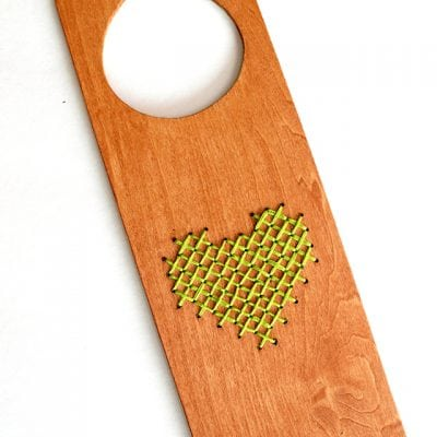 Heart Cross Stitched Wooden Door Hanger