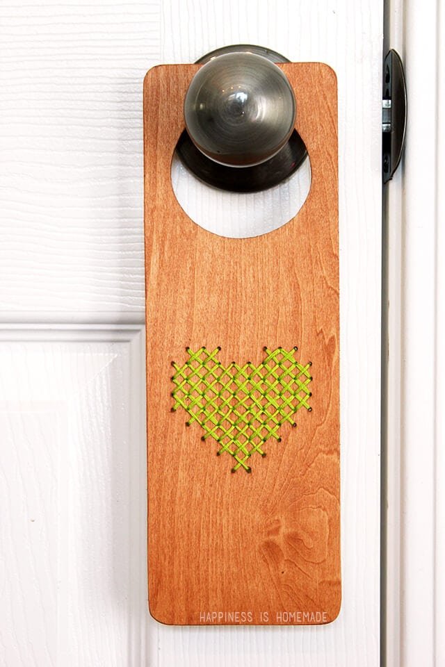Cross Stitched Wood Door Hanger
