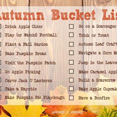 Fall Bucket List Printable & Activities
