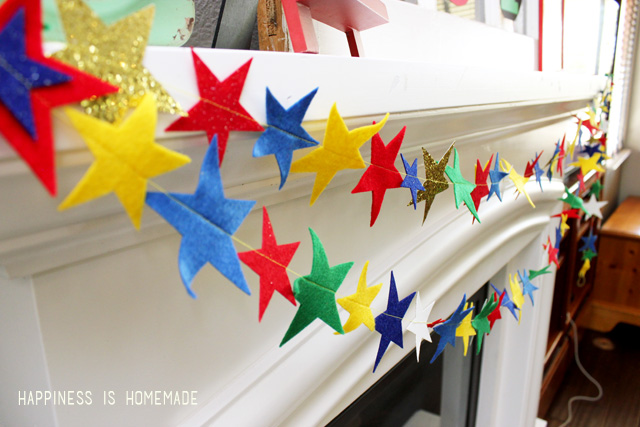 Felt Star Garland Banner Cut with the Sizzix Big Shot