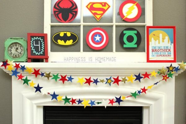 Felt Star Garland Banner for Superhero Party