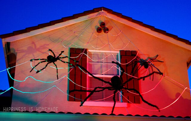 Giant Rope Spiderweb on Roof for Halloween