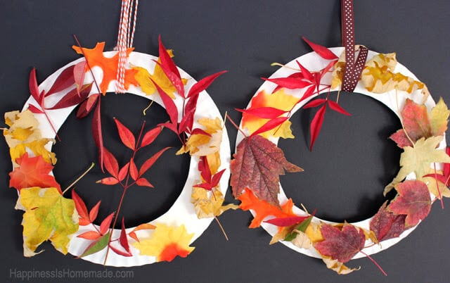 Kids Craft - Fall Leaf Wreaths