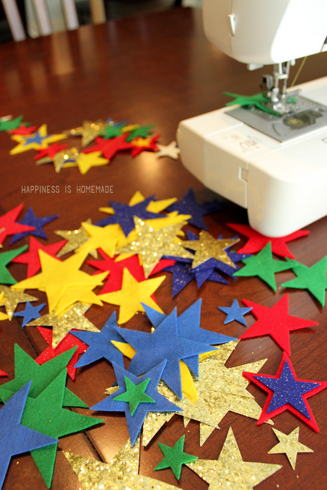 Sewing a Felt Star Garland