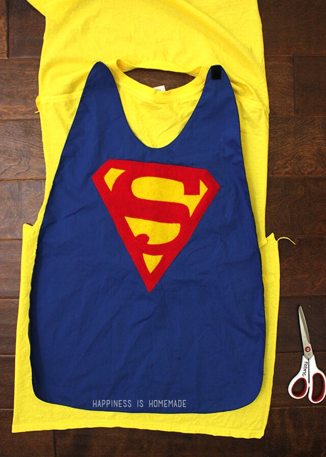 Diy personalized superhero cape from a t shirt happiness is homemade upcycled t shirt to superhero cape pronofoot35fo Image collections