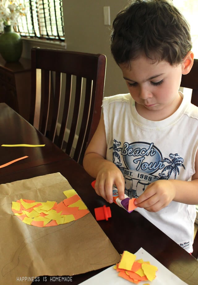 Using an Elmer's Early Learners Glue Stick to Make a Mosaic Lion