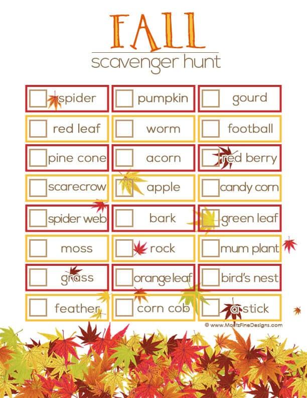 Fall Backyard Scavenger Hunt : Fall Bucket List Printable & Activities  Happiness is Homemade