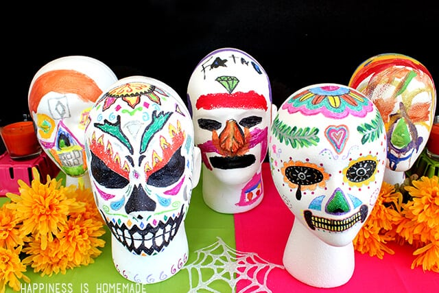 FloraCraft foam heads turned into Dia de los Muertos sugar skulls