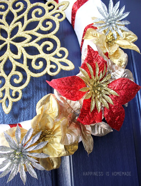 Glittery Red and Gold Christmas Wreath