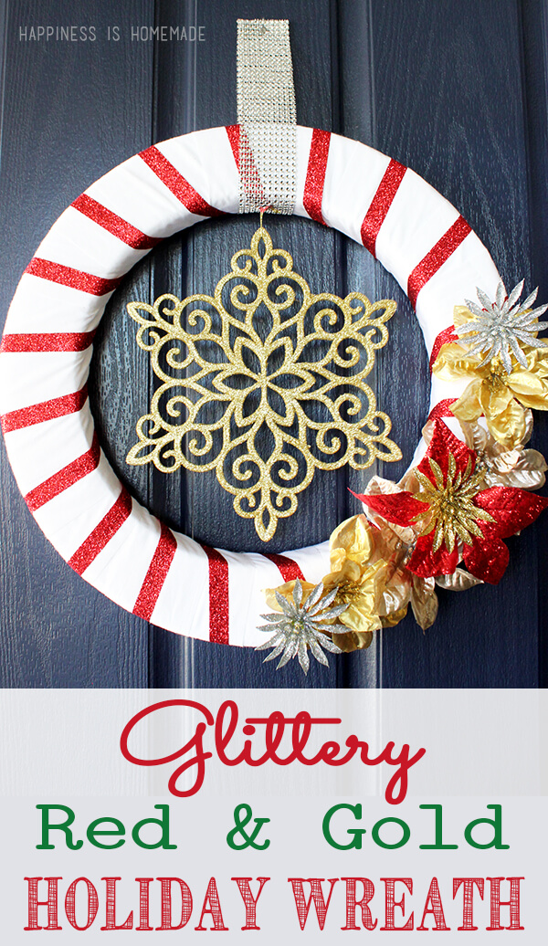Gold U0026 Red Glittery Christmas Holiday Wreath
