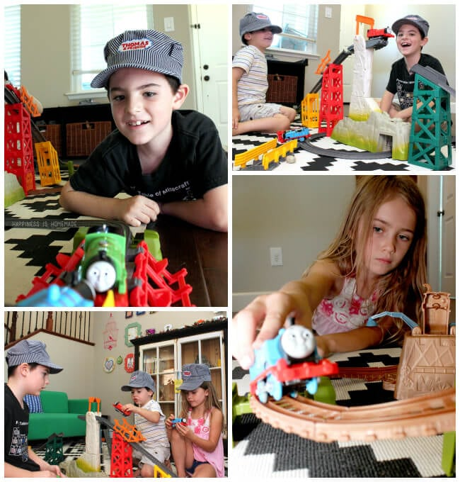 Playing with Thomas Trackmaster Trains Collage