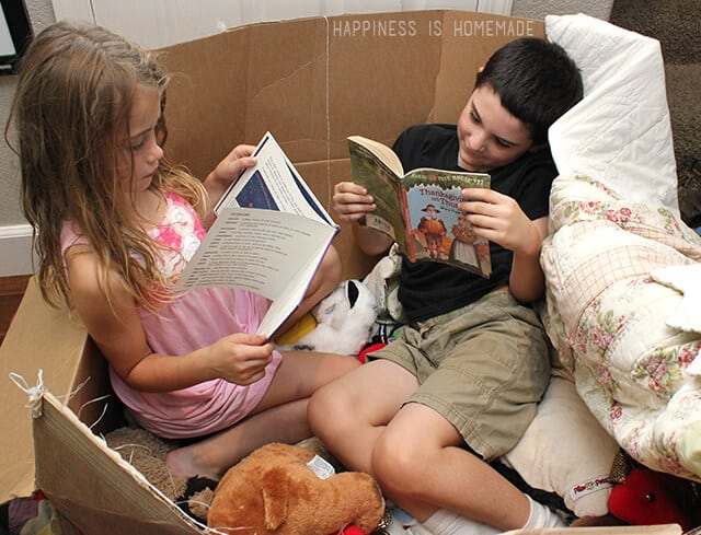 Reading in a Box Fort