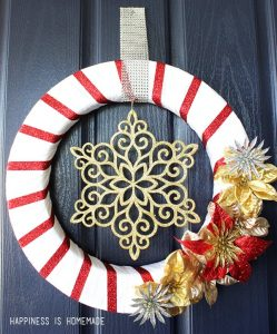 Red & Gold Holiday Wreath