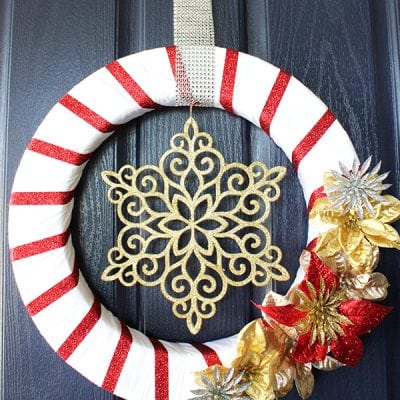 Glittery Red & Gold Holiday Wreath