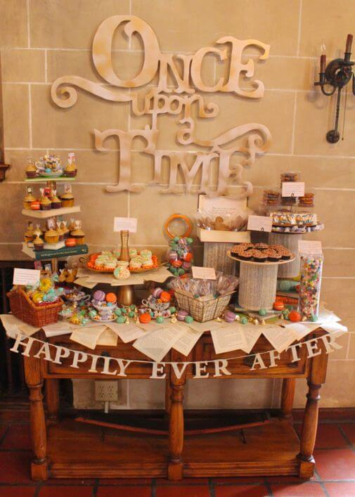 Vintage book dessert table_front