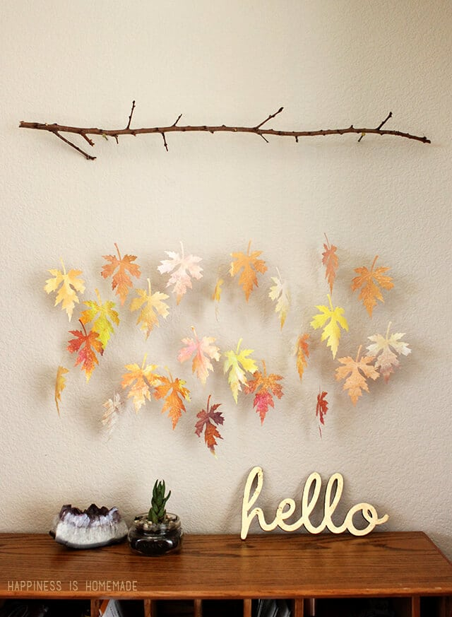 Watercolor Paper Leaf & Branch Mobile - Happiness is Homemade
