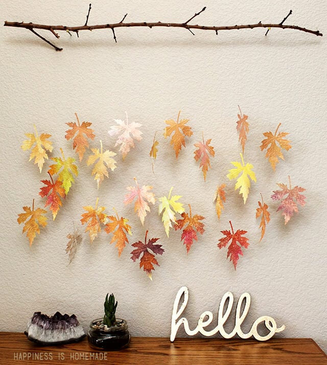 Watercolor Paper Leaf Branch Mobile Happiness Is Homemade