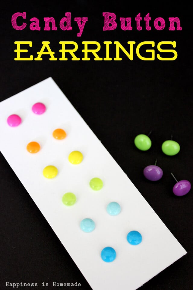 DIY Candy Button Dot Earrings for Under 25 Cents a Pair