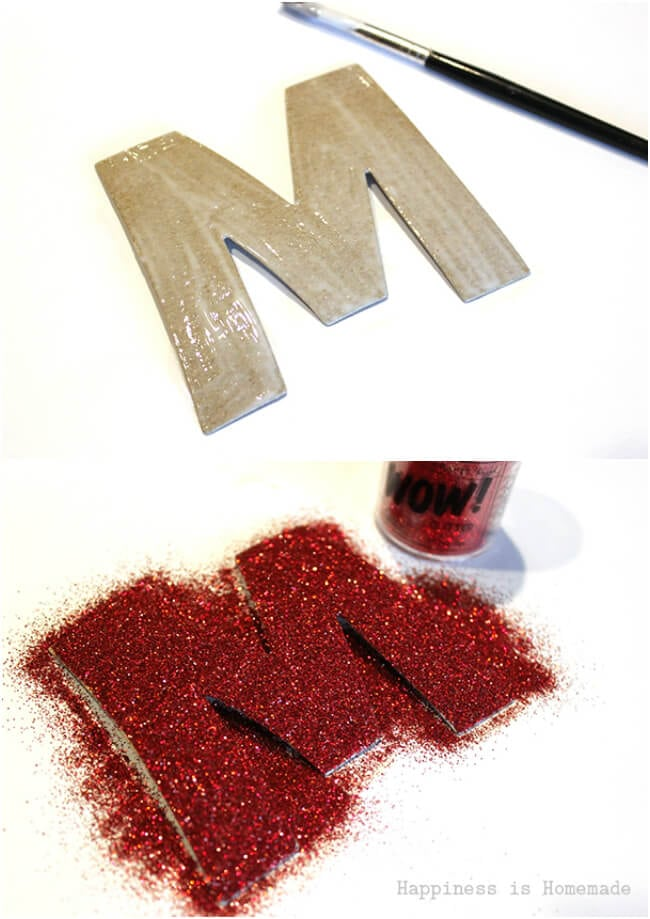 Glittered Chipboard Monogram Ornament