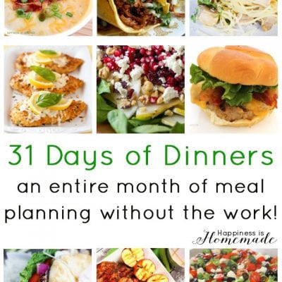 Meal Planning: 31 Days of Dinner Recipes & Ideas